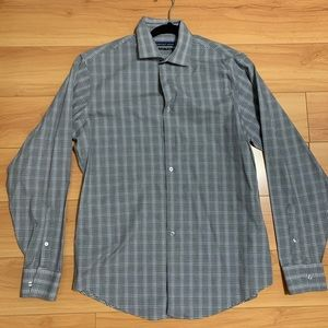 Gray with White plaid men's shirt